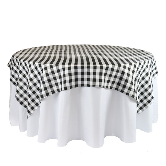 90 x 90 Inch Square Polyester Overlay Checkered Black