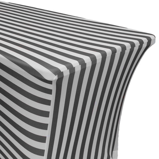 Stretch Spandex 8 Ft Rectangular Table Cover Black/White Striped zoom