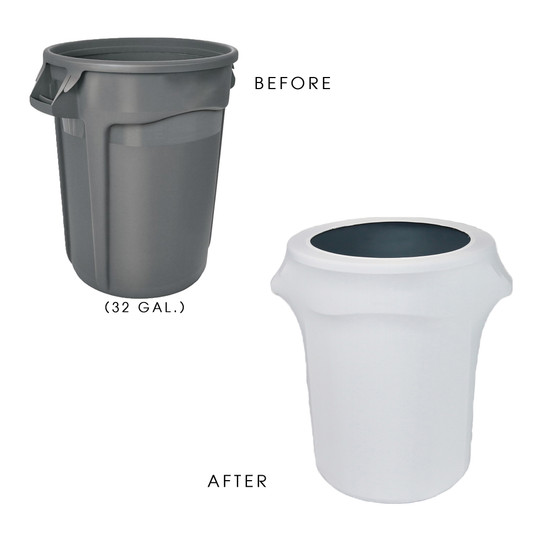 32 Gallon Spandex Trash Can/Waste Container Cover White before and after