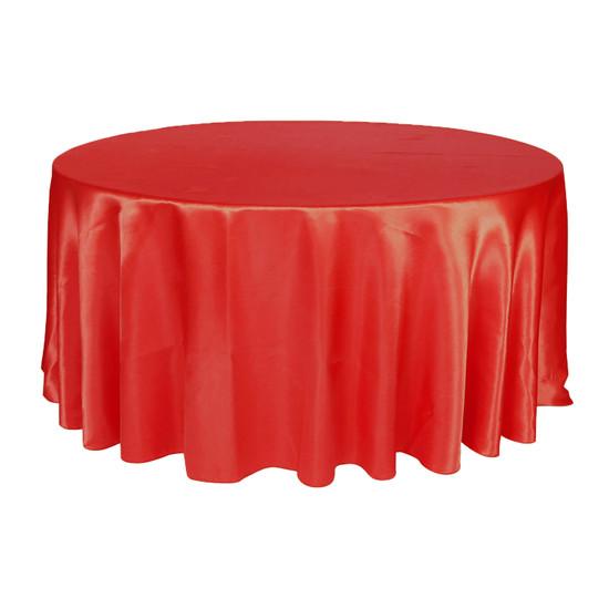 132 Inch Round Satin Tablecloth Black
