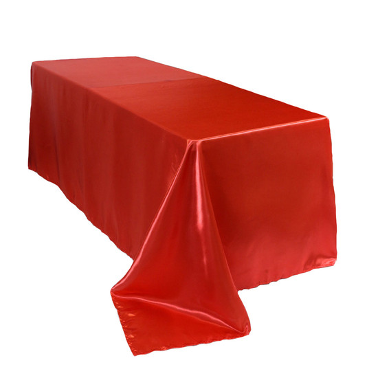 90 x 156 Inch Rectangular Satin Tablecloth Red