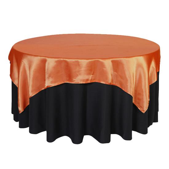 72 inch Square Satin Table Overlays Orange