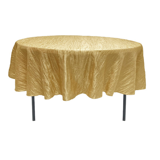 90 Inch Round Crinkle Taffeta Tablecloth Gold