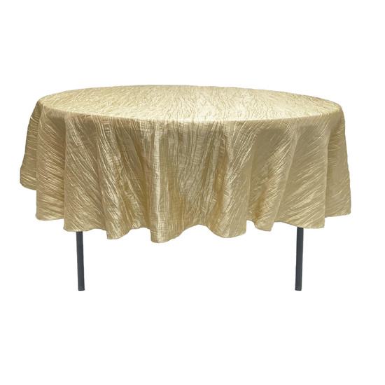 90 Inch Round Crinkle Taffeta Tablecloth Champagne