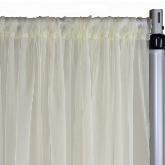 Voile Sheer Drape/Backdrop 20 ft x 116 Inches Ivory