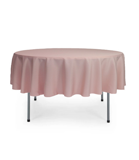 70 Inch Round Polyester Tablecloth Blush