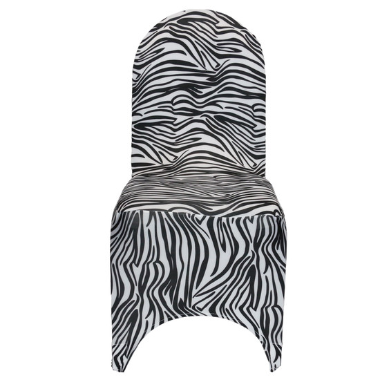Stretch Spandex Banquet Chair Cover Black and White Zebra front view