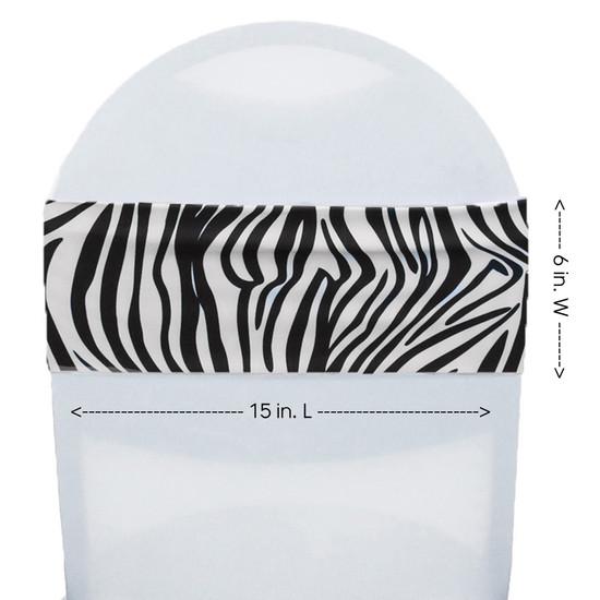 Stretch Spandex Chair Bands Zebra measurements
