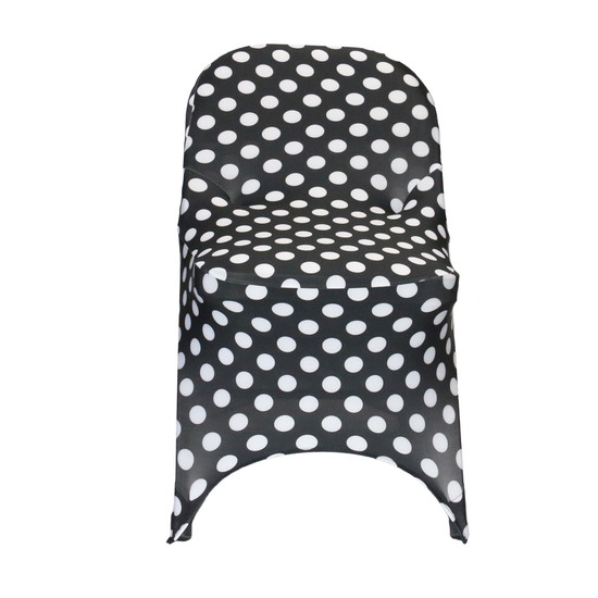 Stretch Spandex Folding Chair Covers Black and White Polka Dot  front view