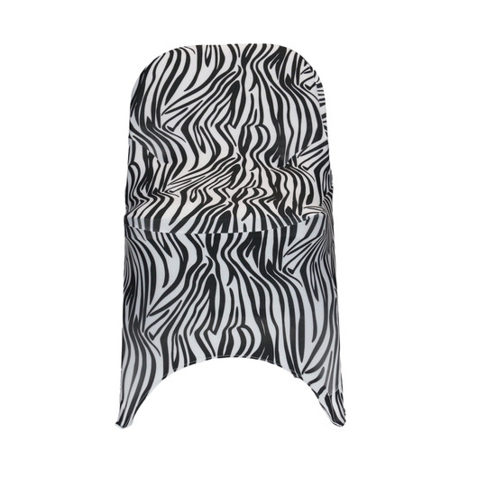 Stretch Spandex Folding Chair Covers Zebra front view