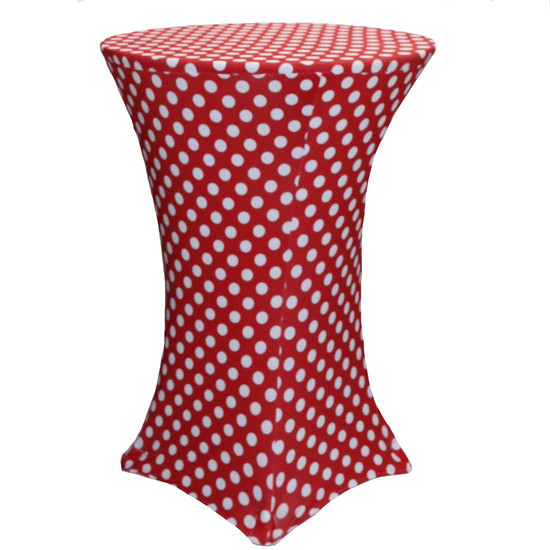30 Inch Highboy Cocktail Round Stretch Spandex Table Cover Red and White Polka Dot