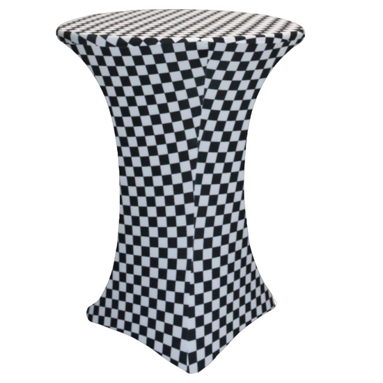 30 Inch Highboy Cocktail Round Stretch Spandex Table Cover Black and White Checkered