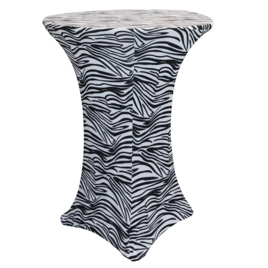 30 Inch Highboy Cocktail Round Stretch Spandex Table Cover Black and White Zebra