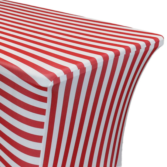 Stretch Spandex 4 ft Rectangular Table Cover Red and White Striped zoom