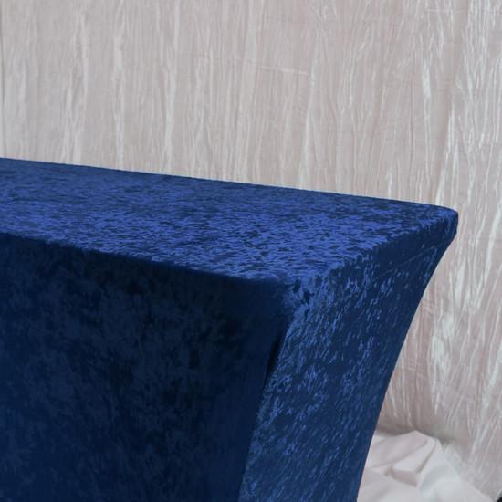 Velvet Spandex 8 Ft Rectangular Table Cover Navy Blue