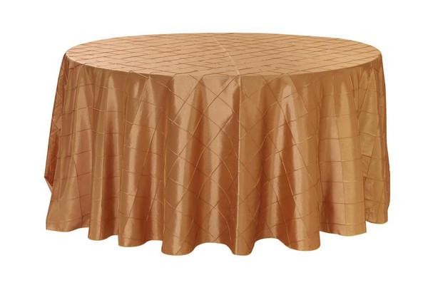 120 Inch Pintuck Taffeta Round Tablecloths Gold