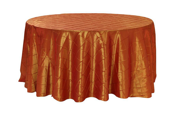 132 Inch Pintuck Taffeta Round Tablecloths Burnt Orange