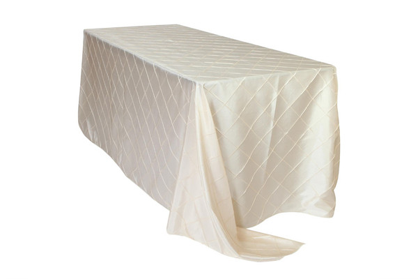 90 x 132 inch Pintuck Taffeta Rectangular Tablecloths Ivory
