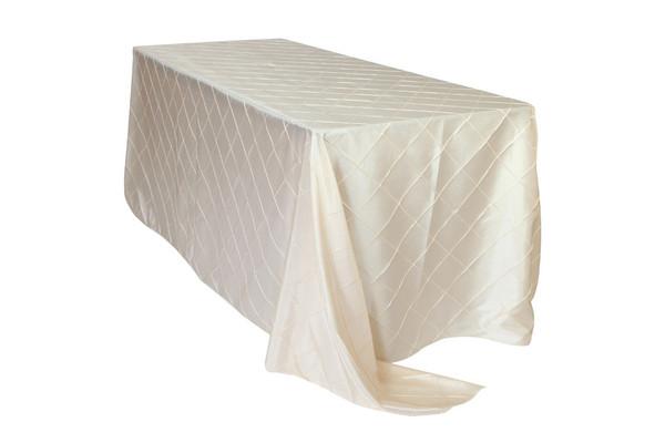 90 x 156 inch Pintuck Taffeta Rectangular Tablecloths Ivory