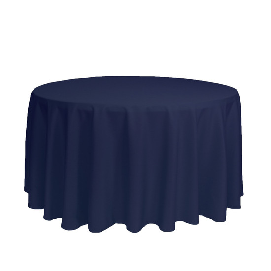120 inch Round Polyester Tablecloths Navy Blue