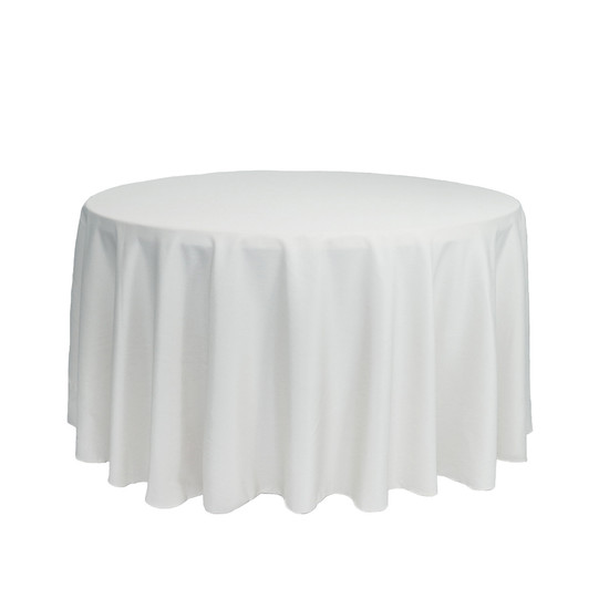 108 Inch Round Polyester Tablecloth White