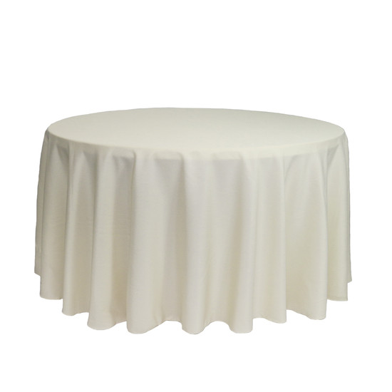 120 inch Round Polyester Tablecloths Ivory
