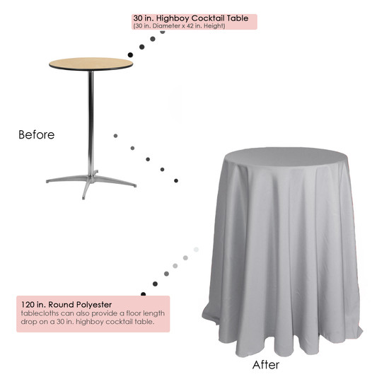 120 inch Round Polyester Tablecloths Silver on 30 inch cocktail tables
