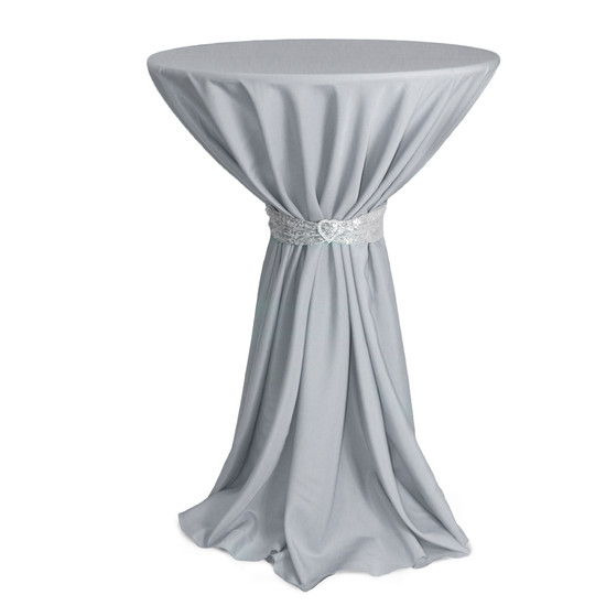 120 inch Round Polyester Tablecloths Silver on cocktail tables