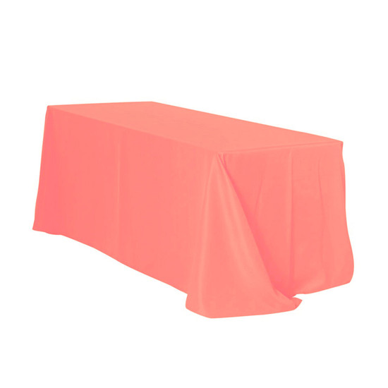 90 x 132 inch Rectangular Polyester Tablecloths Coral