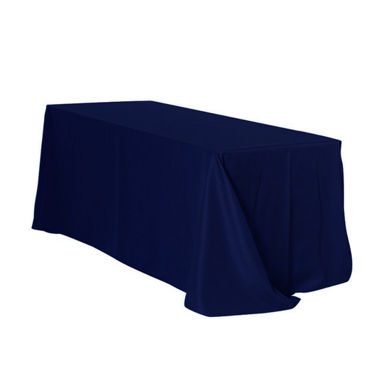 90 x 132 inch Rectangular Polyester Tablecloths Navy Blue