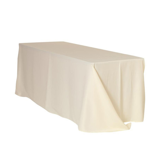 90 x 132 inch Rectangular Polyester Tablecloths Ivory