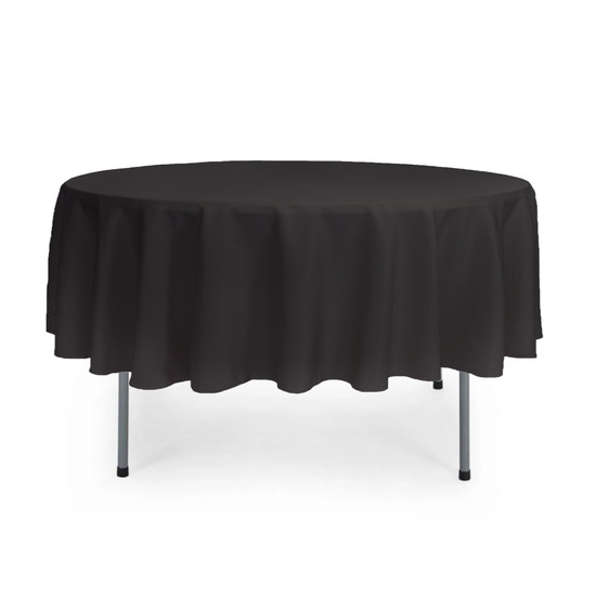 90 inch Round Polyester Tablecloths Black