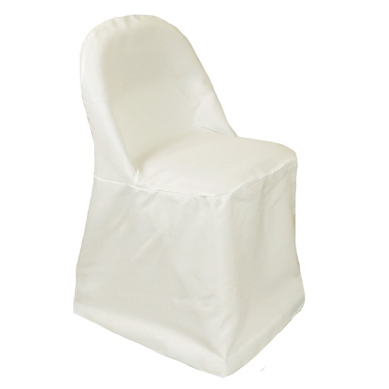 Polyester Folding Chair Covers Ivory