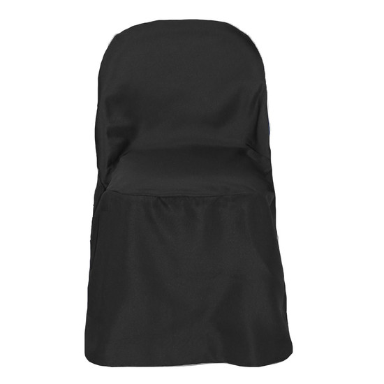 Polyester Folding Chair Covers Black for weddings