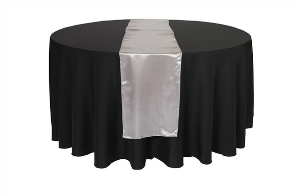 14 x 108 inch Satin Table Runners Dark Silver / Platinum