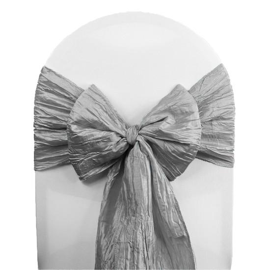 Crinkle Taffeta Chair Sashes Dark Silver / Platinum