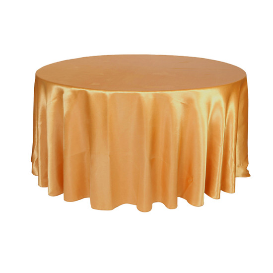 120 inch Round Satin Tablecloths Gold