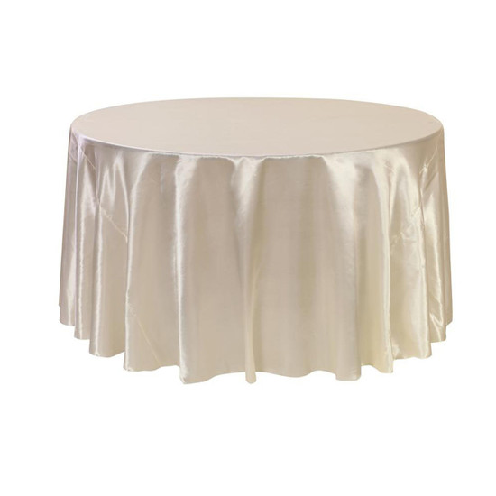 120 inch Round Satin Tablecloths Ivory