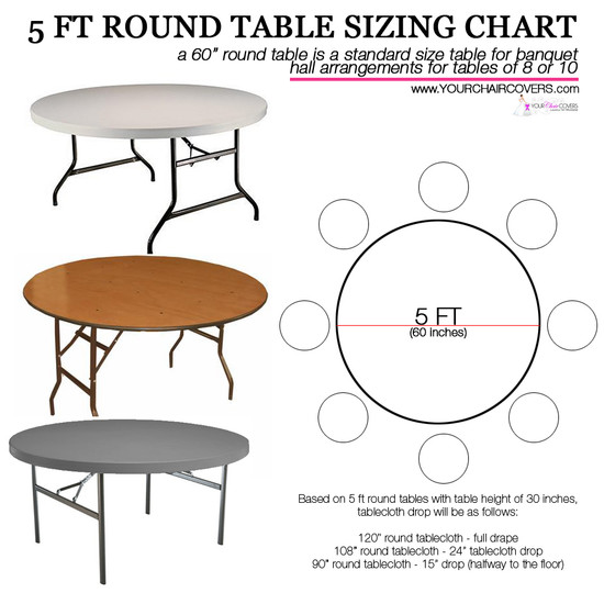 How to Buy Champagne Satin Tablecloths for 5 ft Round Tables? Use this Tablecloth Sizing Guide, a quick and easy printable table cloth sizing chart. 120 inch round table linens will fully drape a 5 ft round table or 60 inch . Check the image for your other table cover measurement options.