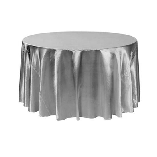 120 inch Round Satin Tablecloths Dark Silver / Platinum