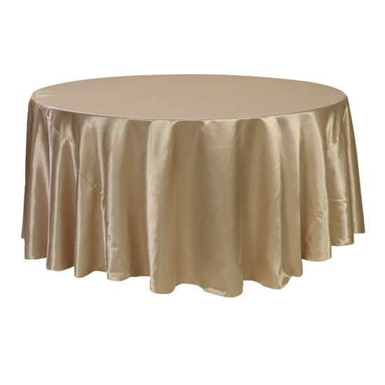 132 inch Round Satin Tablecloth Champagne