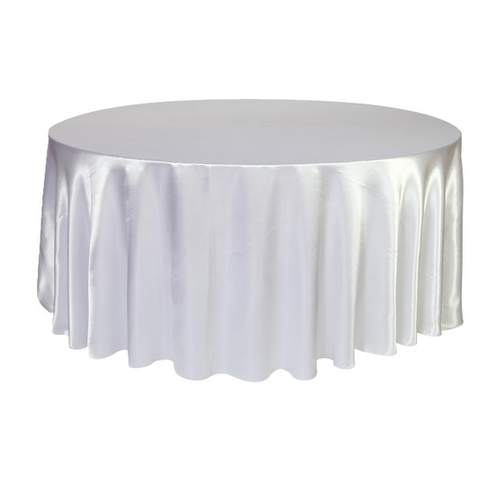 132 Inch Round Satin Tablecloth White
