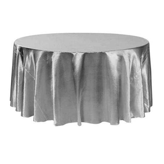 132 inch Round Satin Tablecloths Dark Silver / Platinum