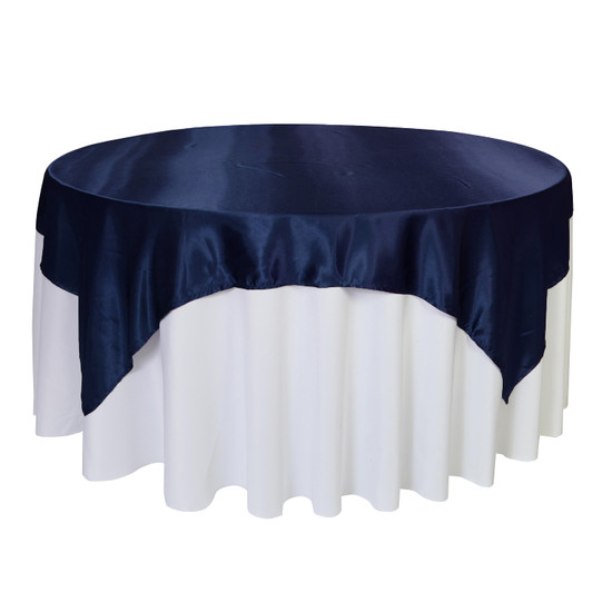 72 inch Square Satin Table Overlays Navy Blue