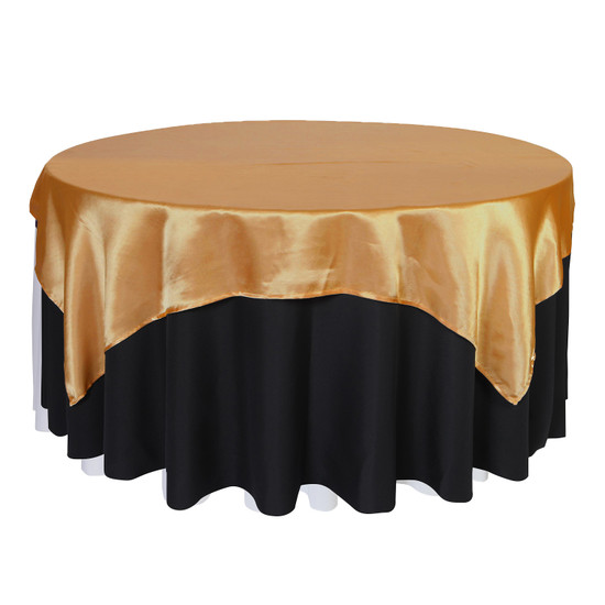 72 inch Square Satin Table Overlays Gold