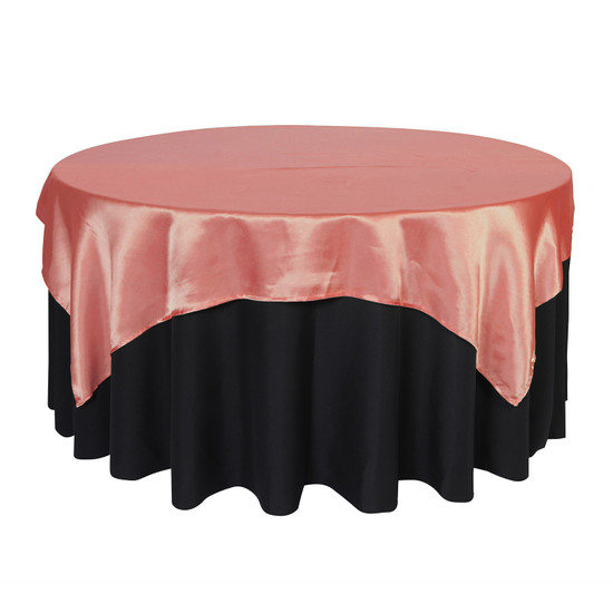 72 inch Square Satin Table Overlays Coral