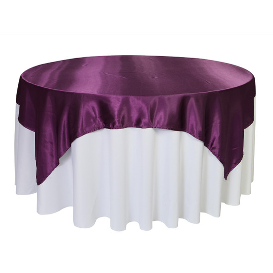 72 inch Square Satin Table Overlays Eggplant