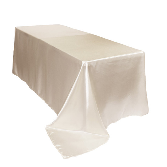 90 x 132 inch Rectangular Satin Tablecloths Ivory