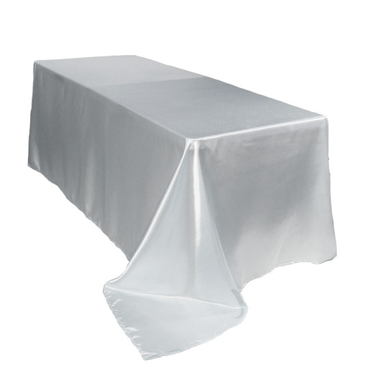 90 x 132 inch Rectangular Satin Tablecloths White