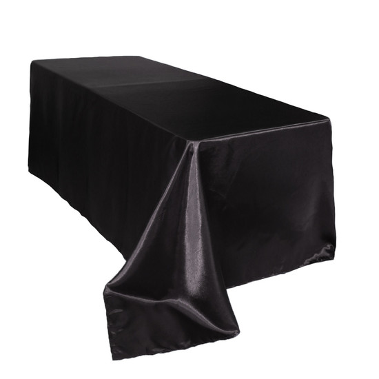 90 x 156 inch Rectangular Satin Tablecloths Black